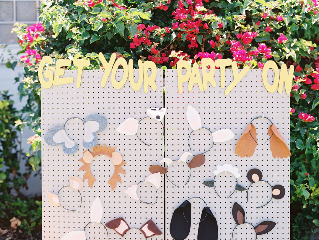 Get your Party On Backdrop, Animal Ears from Party Like An Animal! Party Styled by Deets & Things | Black Twine