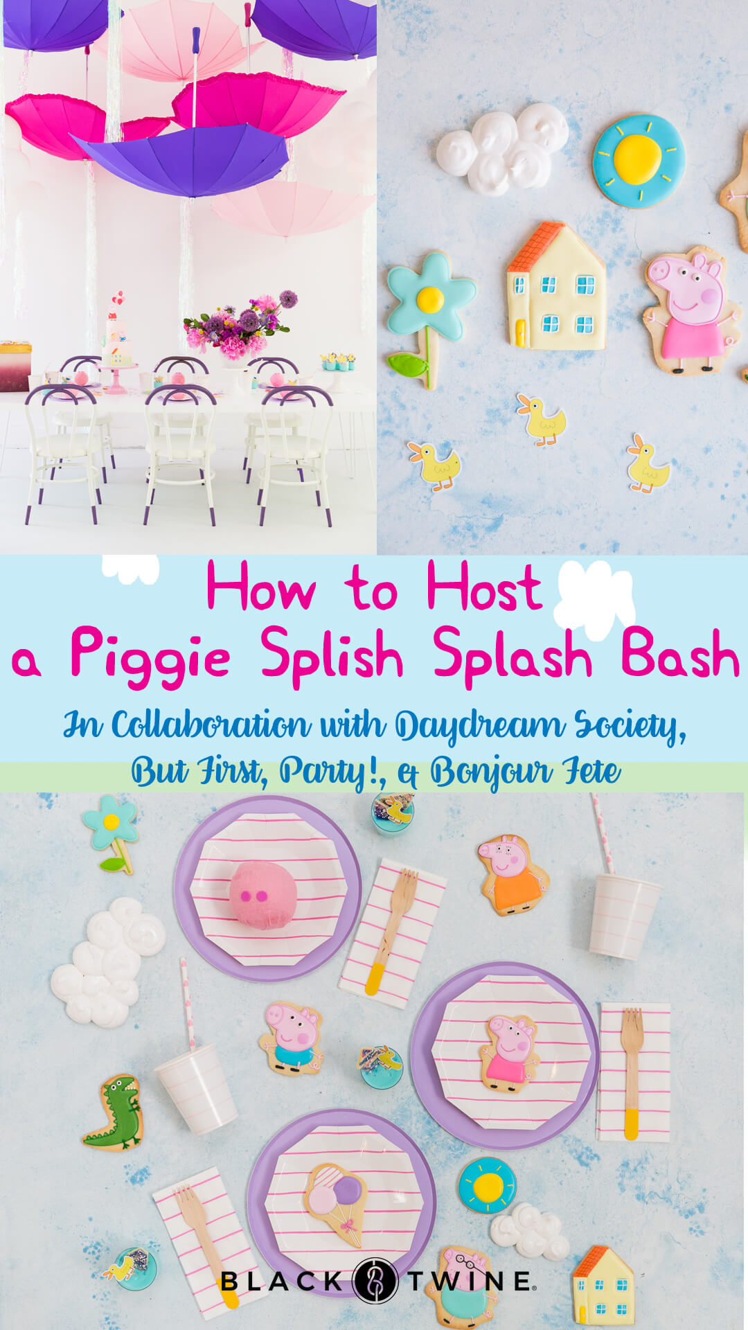 Tablescape, Place Setting, Peppa Pig Cookies from Piggie Splish Splash Bash In Collaboration with Daydream Society, But First, Party!, & Bonjour Fete