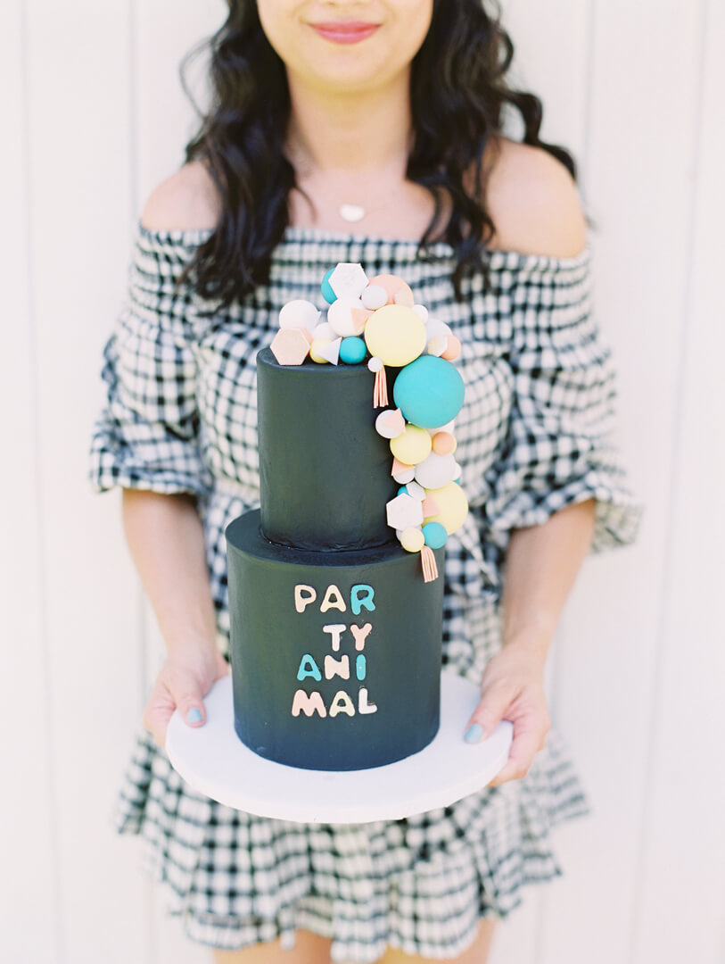 Cake from Party Like An Animal! Party Styled by Deets & Things | Black Twine