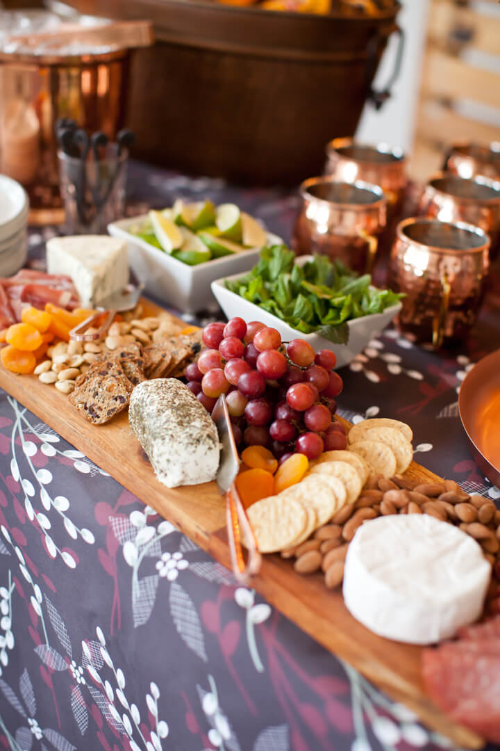 Cheese, Fruits, Nuts Board from Cozy Winter Dinner Party styled by Kiss Me Kate Studio, In Collaboration with Spoonflower / Roostery | Black Twine