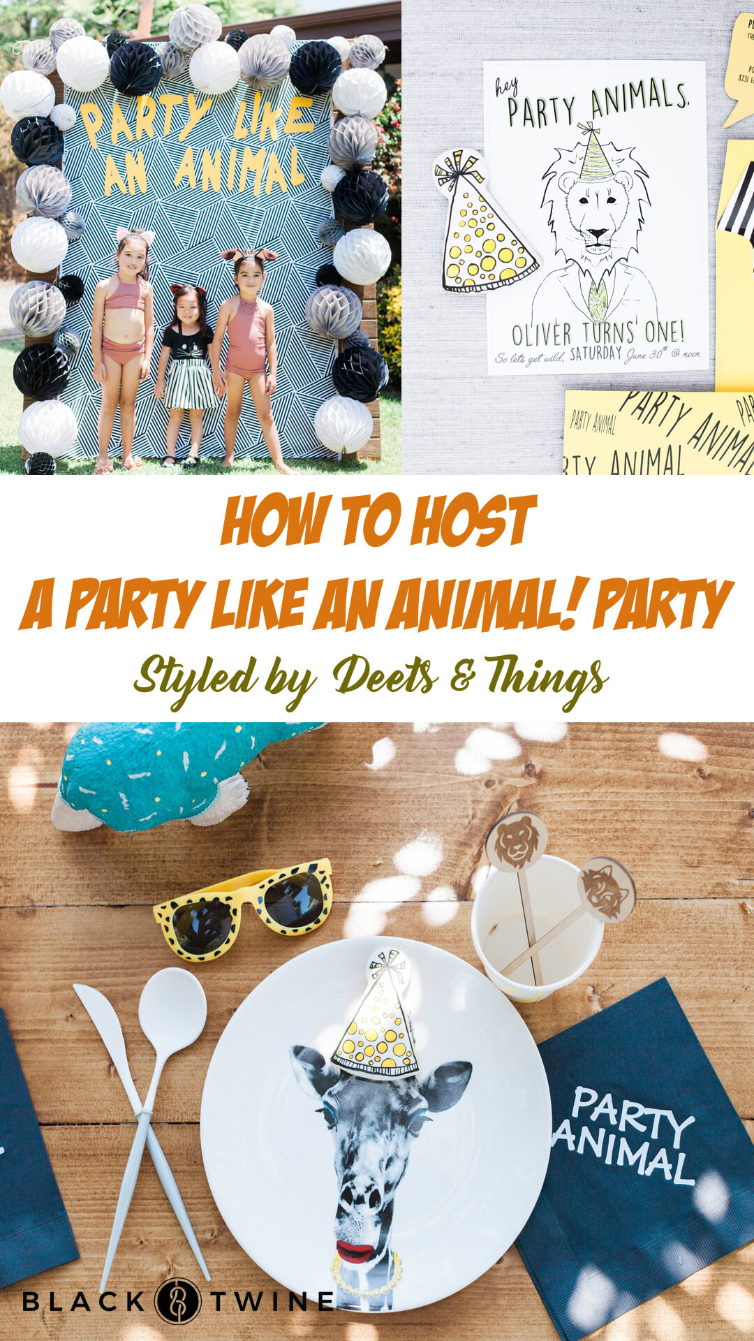 Place Setting, Party Like an Animal Backdrop and Invitations from Party Like An Animal! Party Styled by Deets & Things | Black Twine