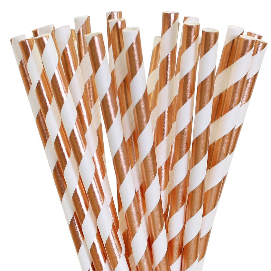Copper Stripe Straws from Eves Party Market