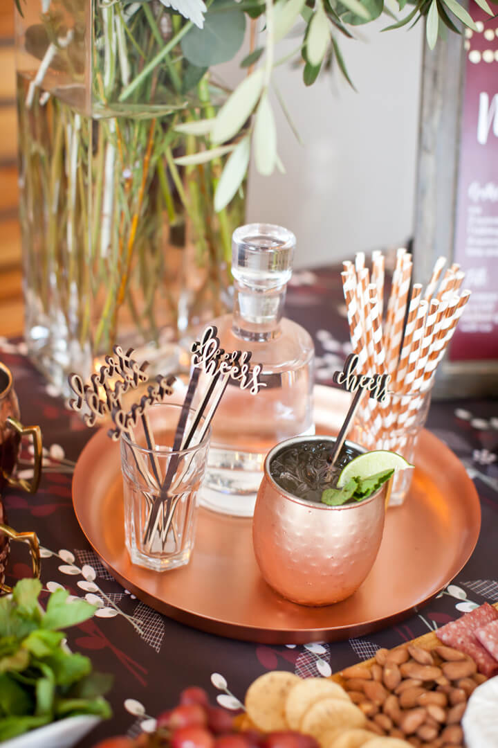 Drink Stirrers, Straws, Bronze Glass from Cozy Winter Dinner Party styled by Kiss Me Kate Studio, In Collaboration with Spoonflower / Roostery | Black Twine