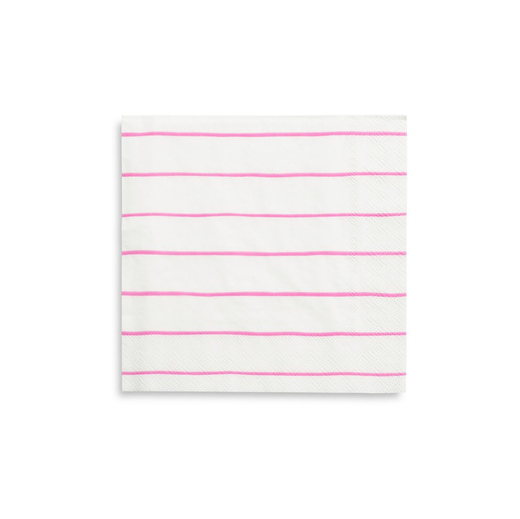 Frenchie Striped Large Napkins in Cerise from Daydream Society