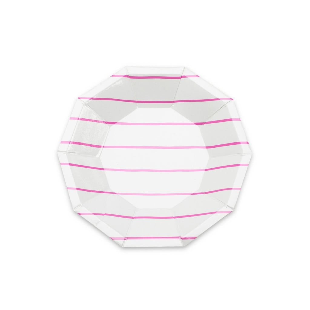 Frenchie Striped Small Plates in Cerise from Daydream Society