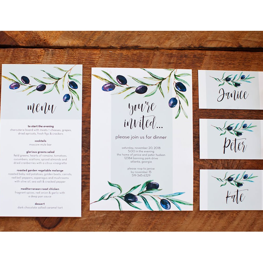 Invitation and Menu Cards from Kiss Me Kate Studio