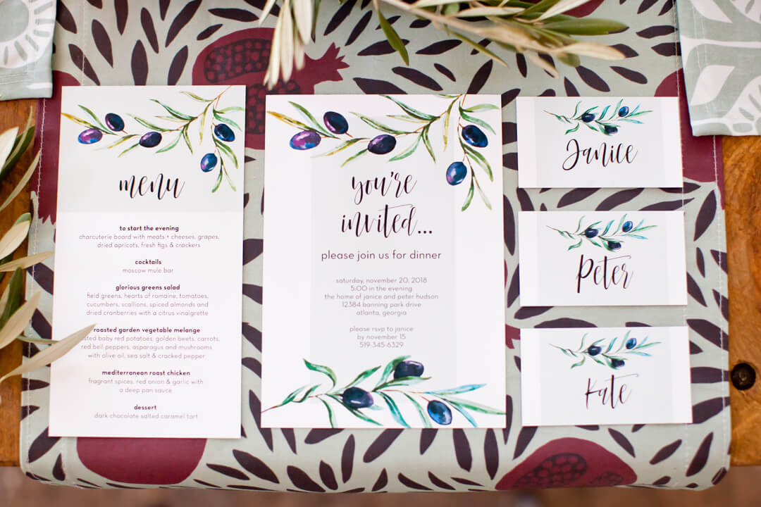 Invitation, Menu, Place Cards from Cozy Winter Dinner Party styled by Kiss Me Kate Studio, In Collaboration with Spoonflower / Roostery | Black Twine