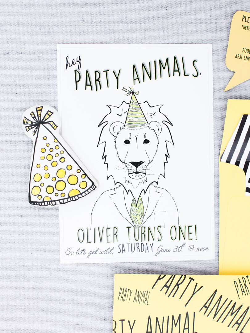 Invitation from Party Like An Animal! Party Styled by Deets & Things | Black Twine