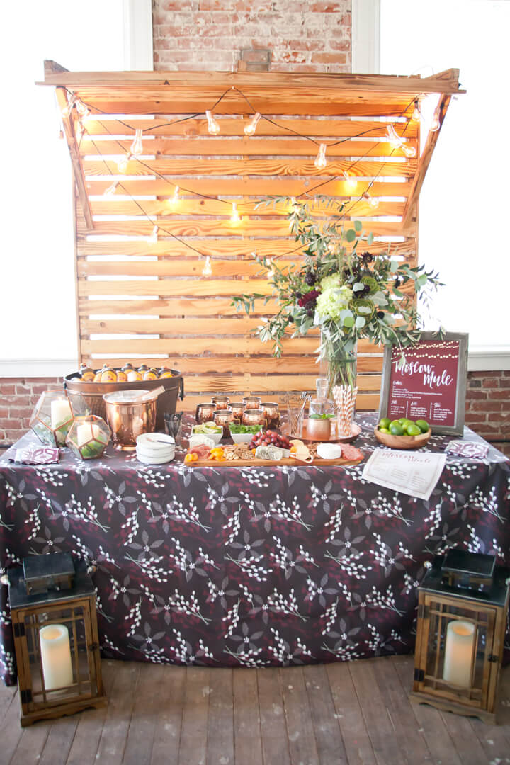 Moscow Mule Bar from Cozy Winter Dinner Party styled by Kiss Me Kate Studio, In Collaboration with Spoonflower / Roostery | Black Twine