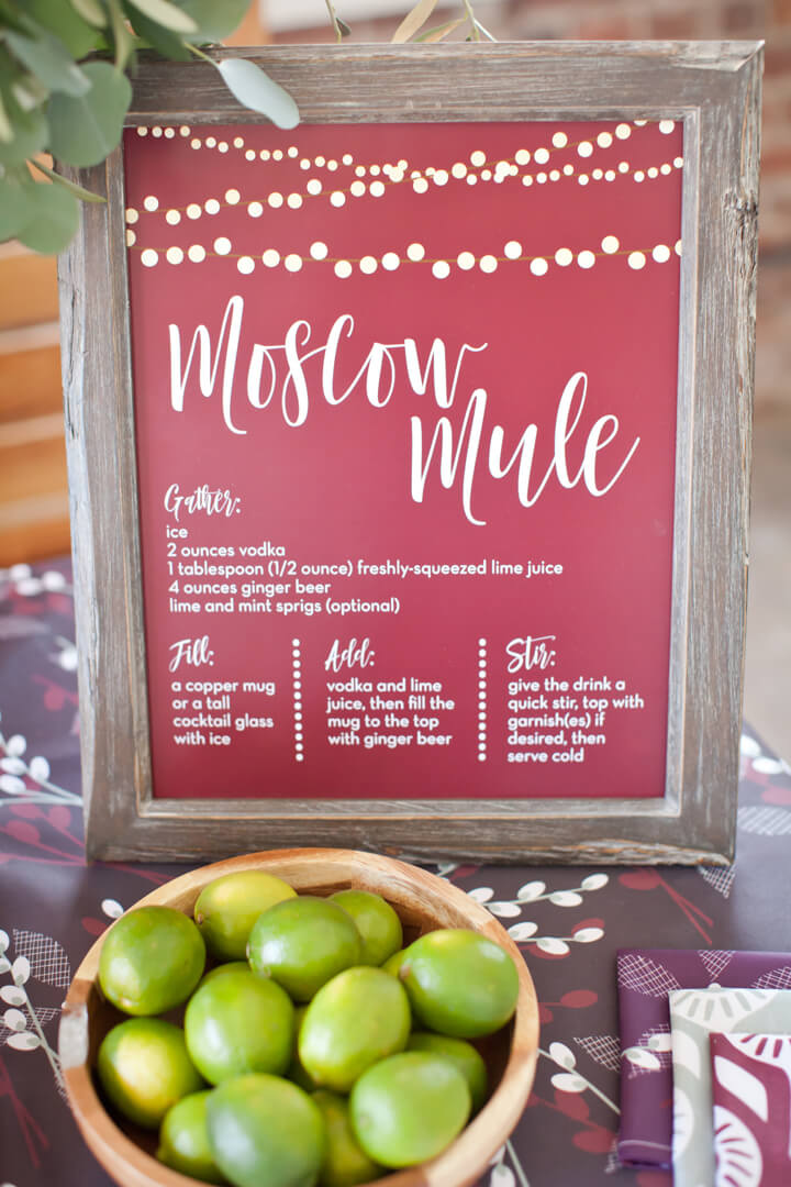 Moscow Mule Sign with Lemons from Cozy Winter Dinner Party styled by Kiss Me Kate Studio, In Collaboration with Spoonflower / Roostery | Black Twine