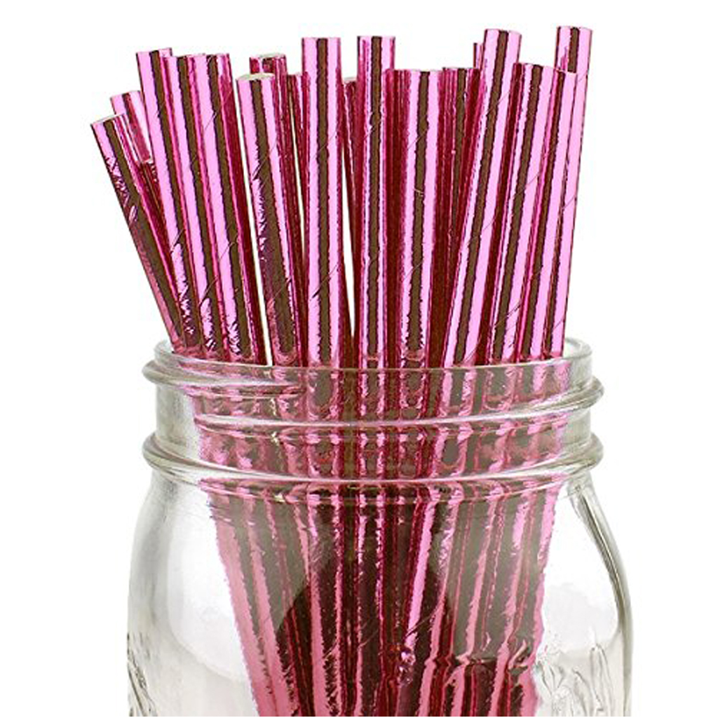 PINK FOIL PARTY STRAWS From Bonjour Fete
