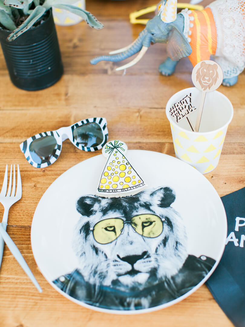 Place Setting, Lion Plate from Party Like An Animal! Party from Party Like An Animal! Party Styled by Deets & Things | Black Twine
