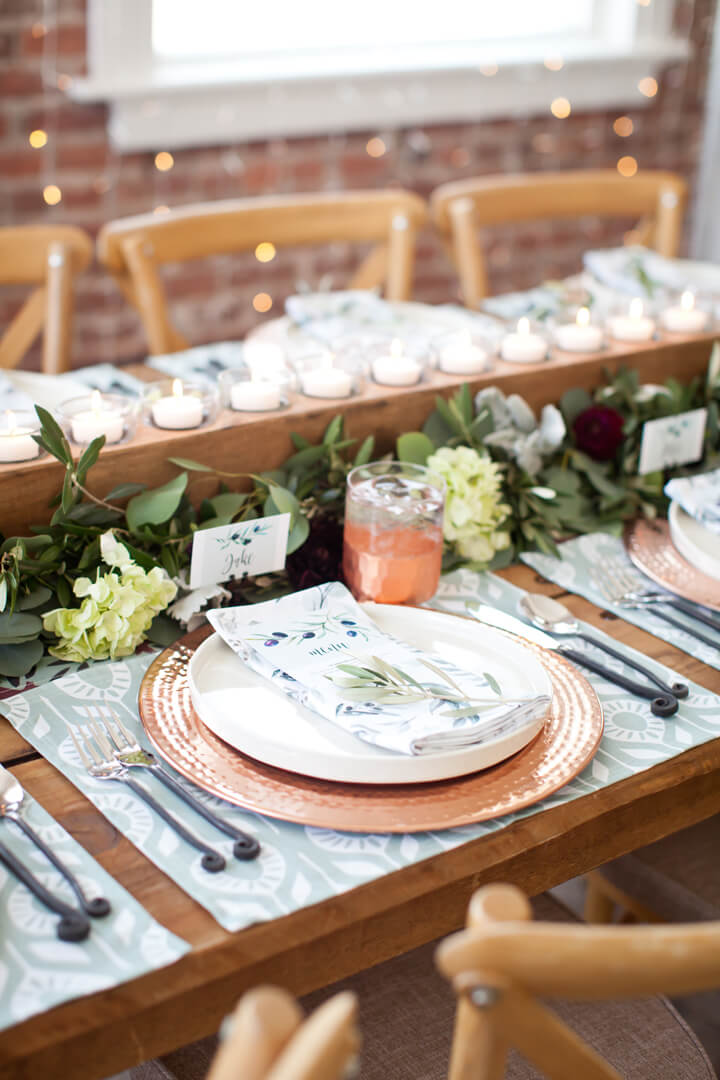 Place Setting from Cozy Winter Dinner Party styled by Kiss Me Kate Studio, In Collaboration with Spoonflower / Roostery | Black Twine