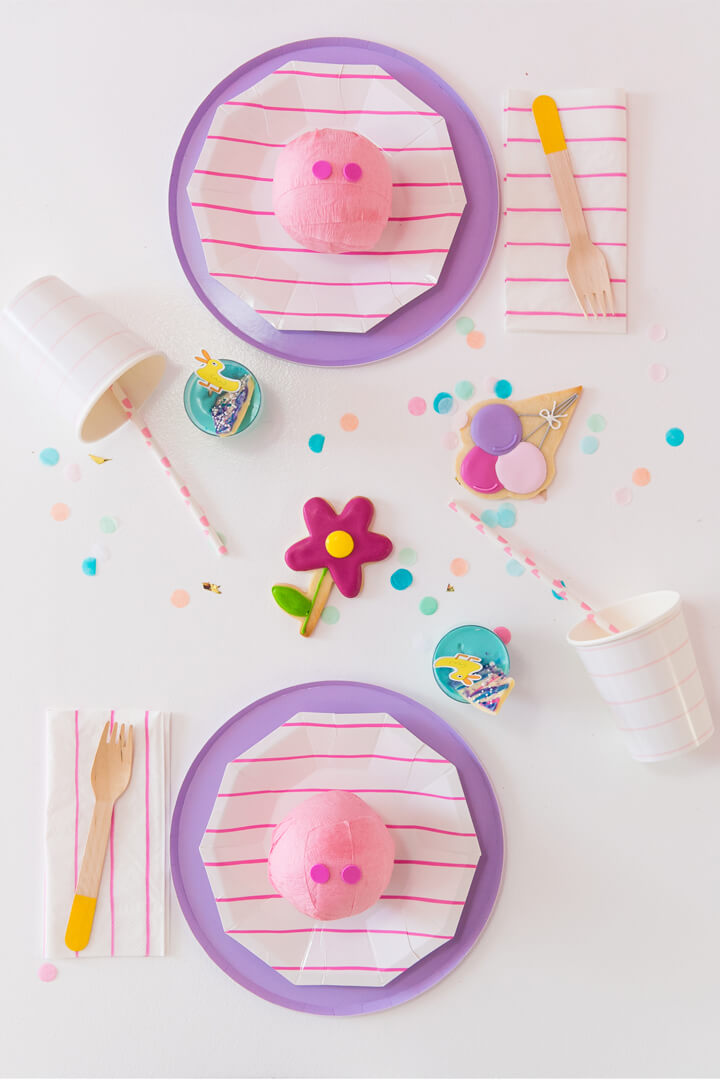 Striped Plate, Flower and Balloon Cookies from Piggie Splish Splash Bash In Collaboration with Daydream Society, But First, Party!, & Bonjour Fete