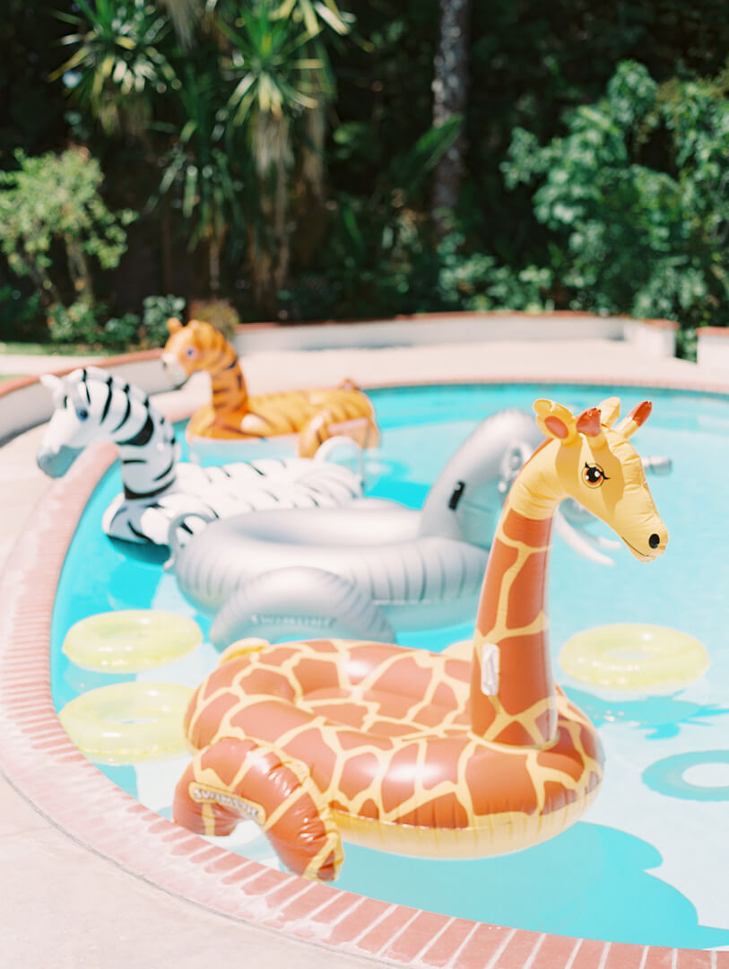 Giraffe, Elephant and Zebra Pool Floats from Party Like An Animal! Party Styled by Deets & Things | Black Twine