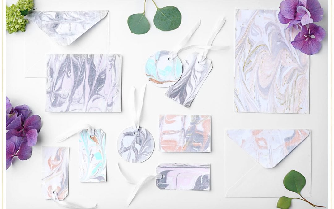 Easy DIY Marble Paper for Favor Tags, Place Cards, and Gift Tags