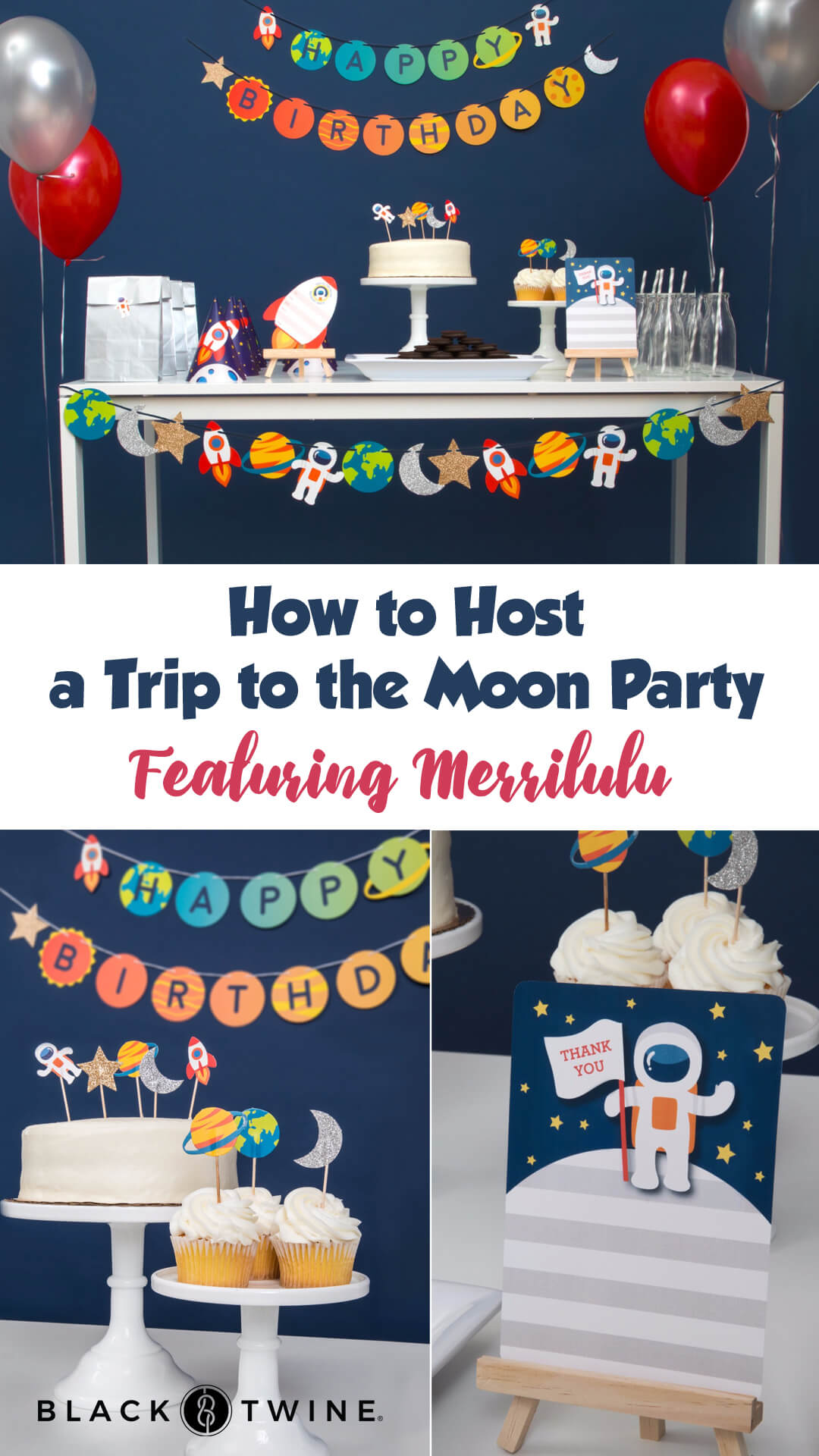 Dessert Table from To The Moon Birthday Party by Merrilulu | Black Twine