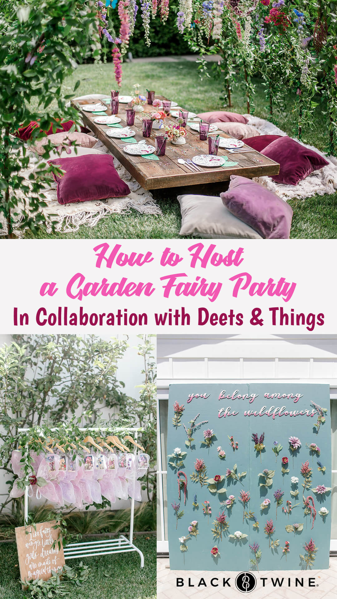 Tablescape, Place Setting, Floral Backdrop, Floral Arch from Garden Fairy Party In Collaboration with Deets & Things | Black Twine
