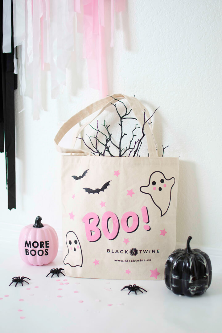 Boo Tote Bag from Spooky Pink Halloween Party Featuring Daydream Society In Collaboration with Twinkle Twinkle Little Party | Black Twine