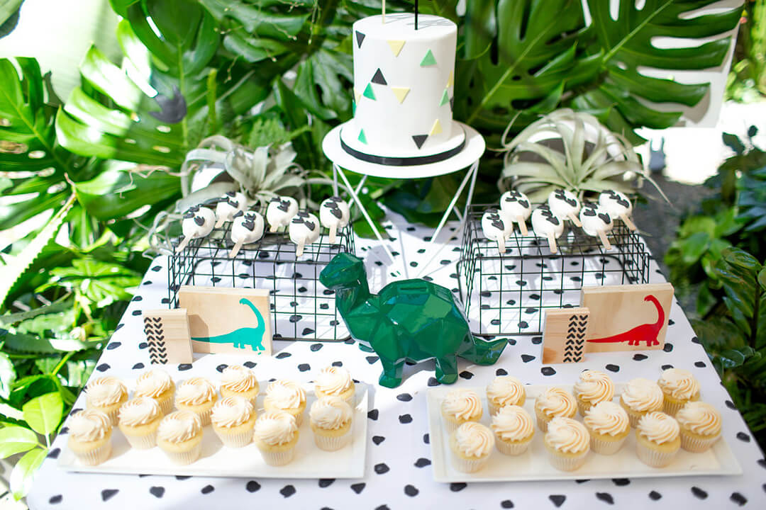 Cupcakes, Cake, and Dinosaur Blocks from Dinomite Birthday Party Styled by Golden Arrow Events & Design | Black Twine