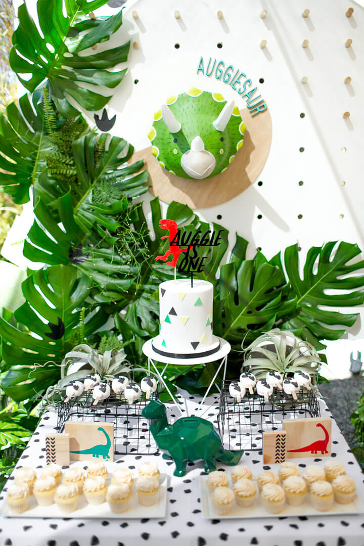 Cupcake, Cake and Triceratops Head Decor from Dinomite Birthday Party Styled by Golden Arrow Events & Design | Black Twine