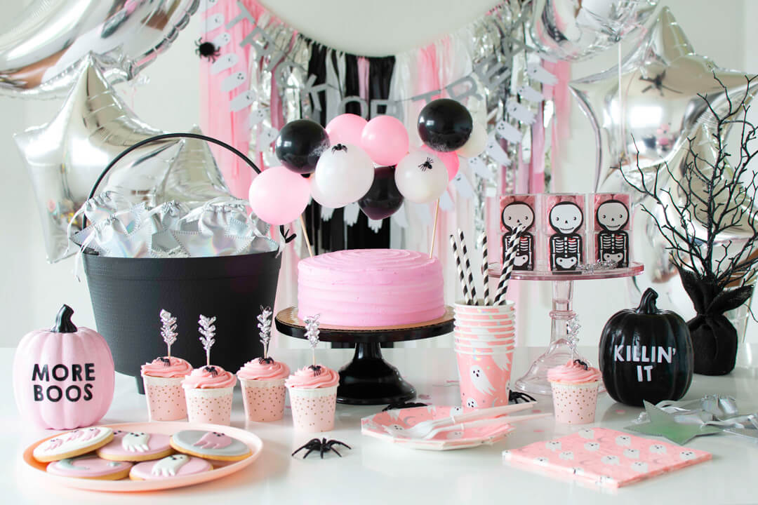 Dessert Station from Spooky Pink Halloween Party Featuring Daydream Society In Collaboration with Twinkle Twinkle Little Party | Black Twine