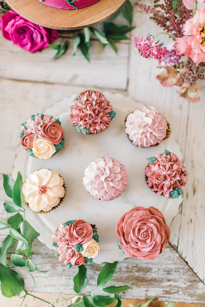 Floral Cupcakes from Garden Fairy Party In Collaboration with Deets & Things | Black Twine