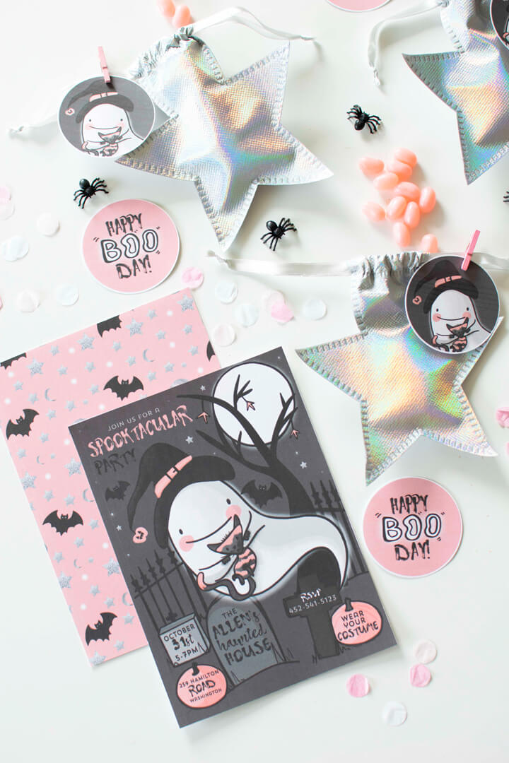 Invitations and Star Favor Bags from Spooky Pink Halloween Party Featuring Daydream Society In Collaboration with Twinkle Twinkle Little Party | Black Twine