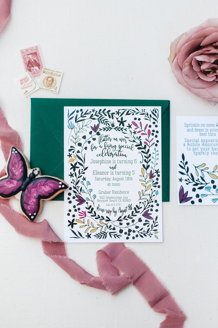 Invitations from Garden Fairy Party In Collaboration with Deets & Things | Black Twine