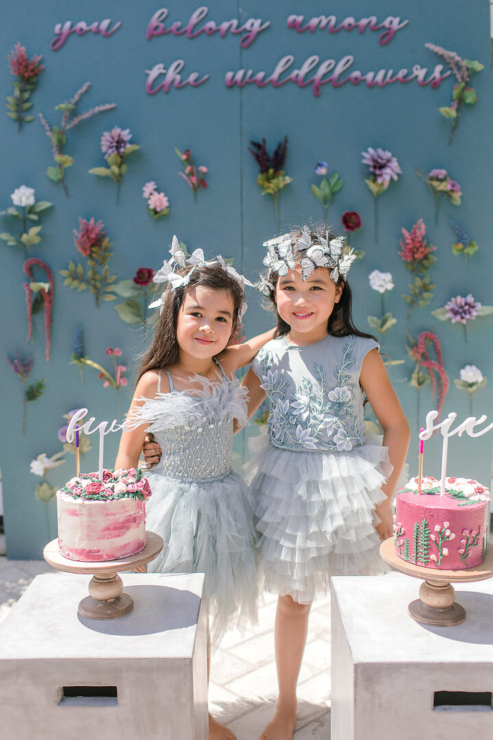 Girls with Cakes from Garden Fairy Party In Collaboration with Deets & Things | Black Twine