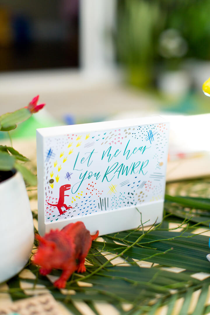Let me Hear you Rawr Sign from Dinomite Birthday Party Styled by Golden Arrow Events & Design | Black Twine