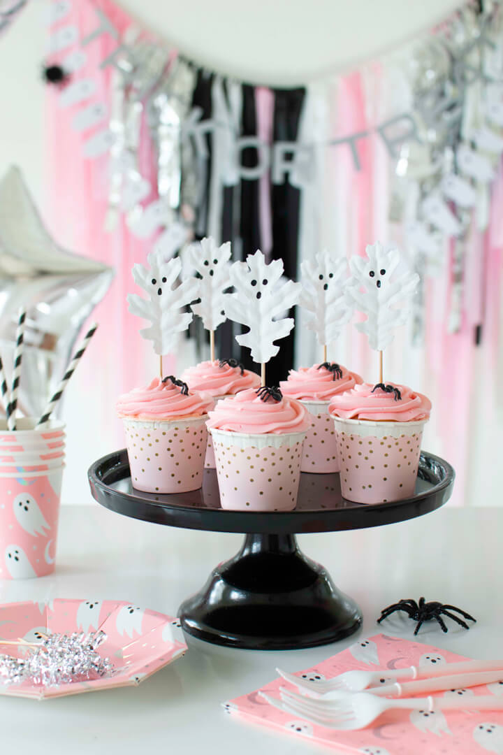 Pink Cupcakes with Ghost Toppers from Spooky Pink Halloween Party Featuring Daydream Society In Collaboration with Twinkle Twinkle Little Party | Black Twine