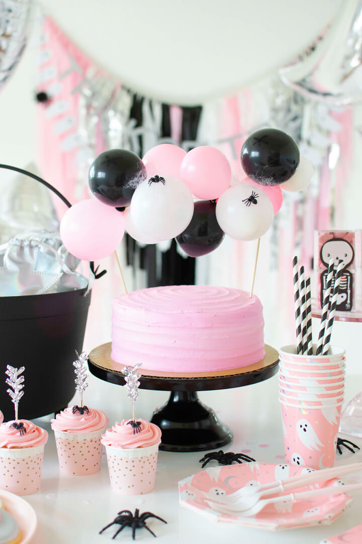 Pink Cake, Spiders, Cupcakes from Spooky Pink Halloween Party Featuring Daydream Society In Collaboration with Twinkle Twinkle Little Party | Black Twine