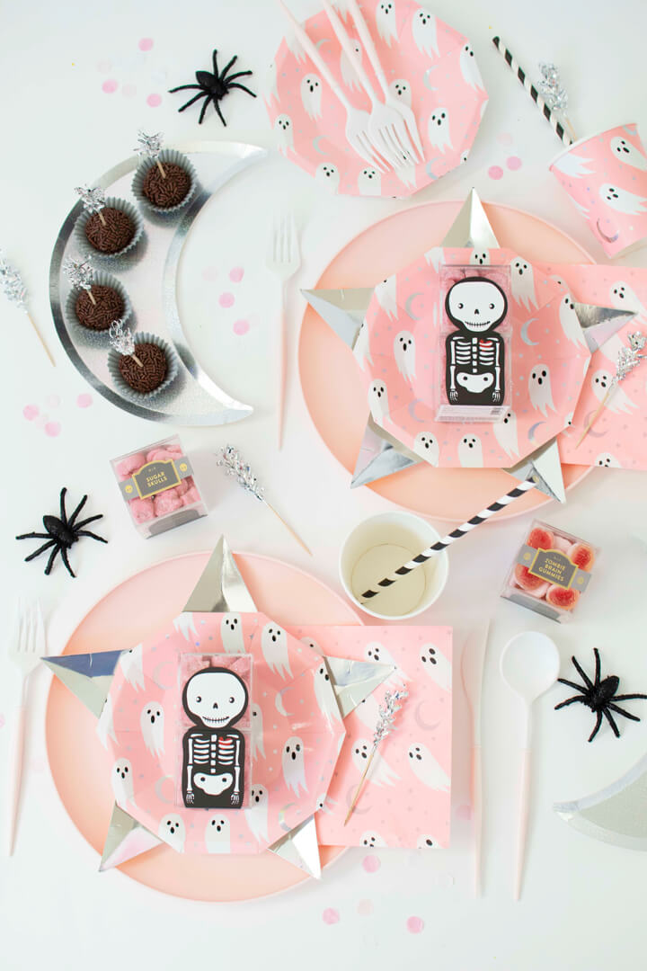 Place Setting from Spooky Pink Halloween Party Featuring Daydream Society In Collaboration with Twinkle Twinkle Little Party | Black Twine