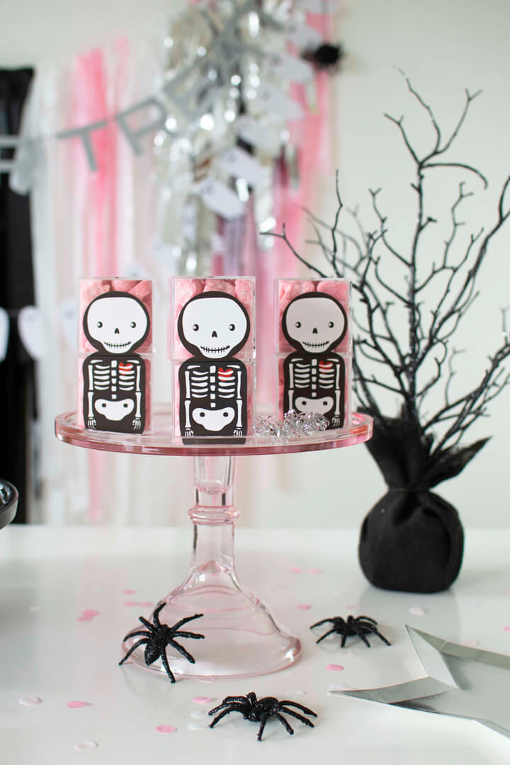 Skeleton Sugarfina Candies from Spooky Pink Halloween Party Featuring Daydream Society In Collaboration with Twinkle Twinkle Little Party | Black Twine