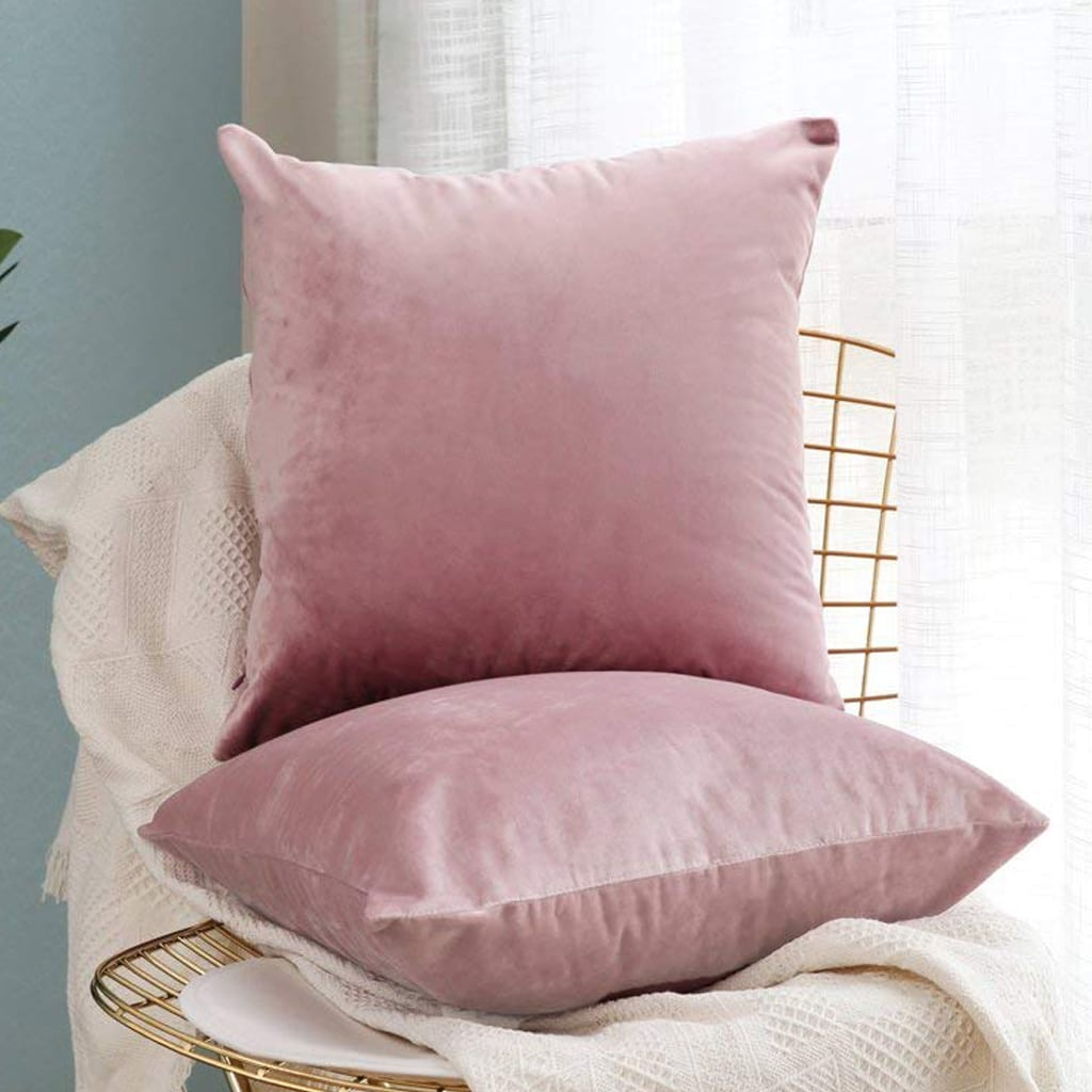 Square Throw Pillow Covers Velvet Pink Purple by MIULEE