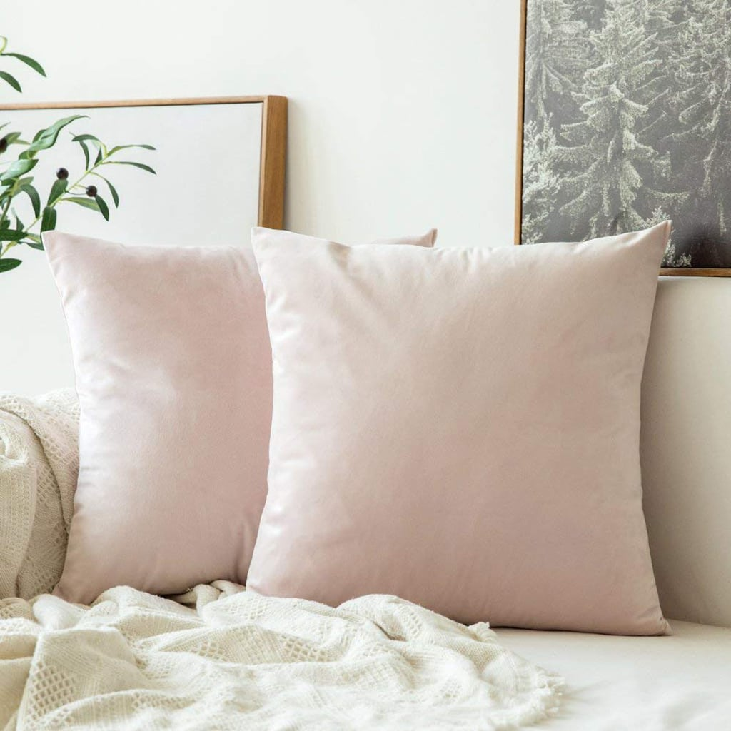 Square Throw Pillow Covers Velvet Pink by MIULEE