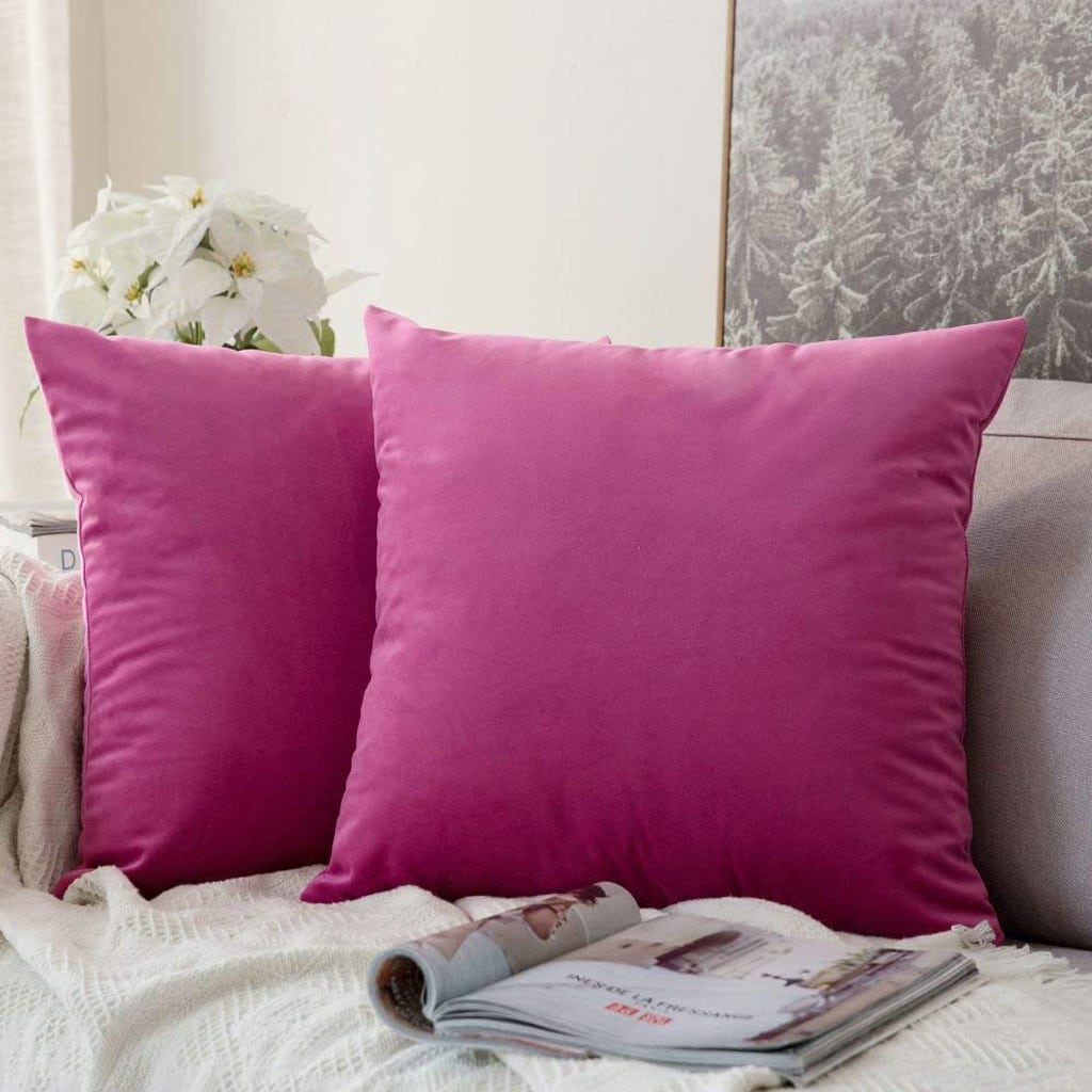 Square Throw Pillow Covers Velvet Rose Red by MIULEE