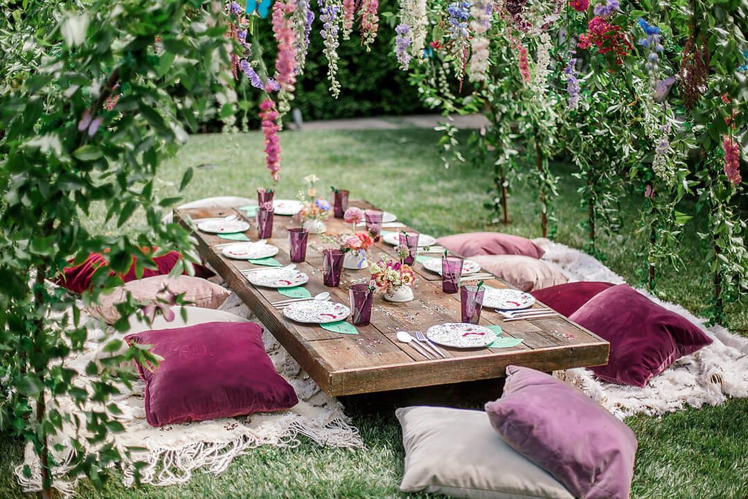 Tablescape from Garden Fairy Party In Collaboration with Deets & Things | Black Twine