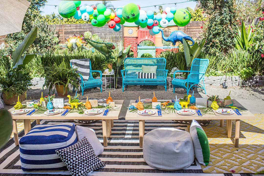 Tablescape from Dinomite Birthday Party Styled by Golden Arrow Events & Design | Black Twine