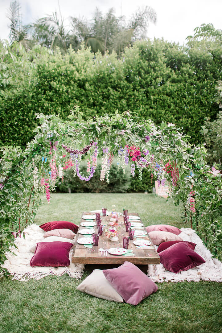 Tablescape with Floral Arch from Garden Fairy Party In Collaboration with Deets & Things | Black Twine