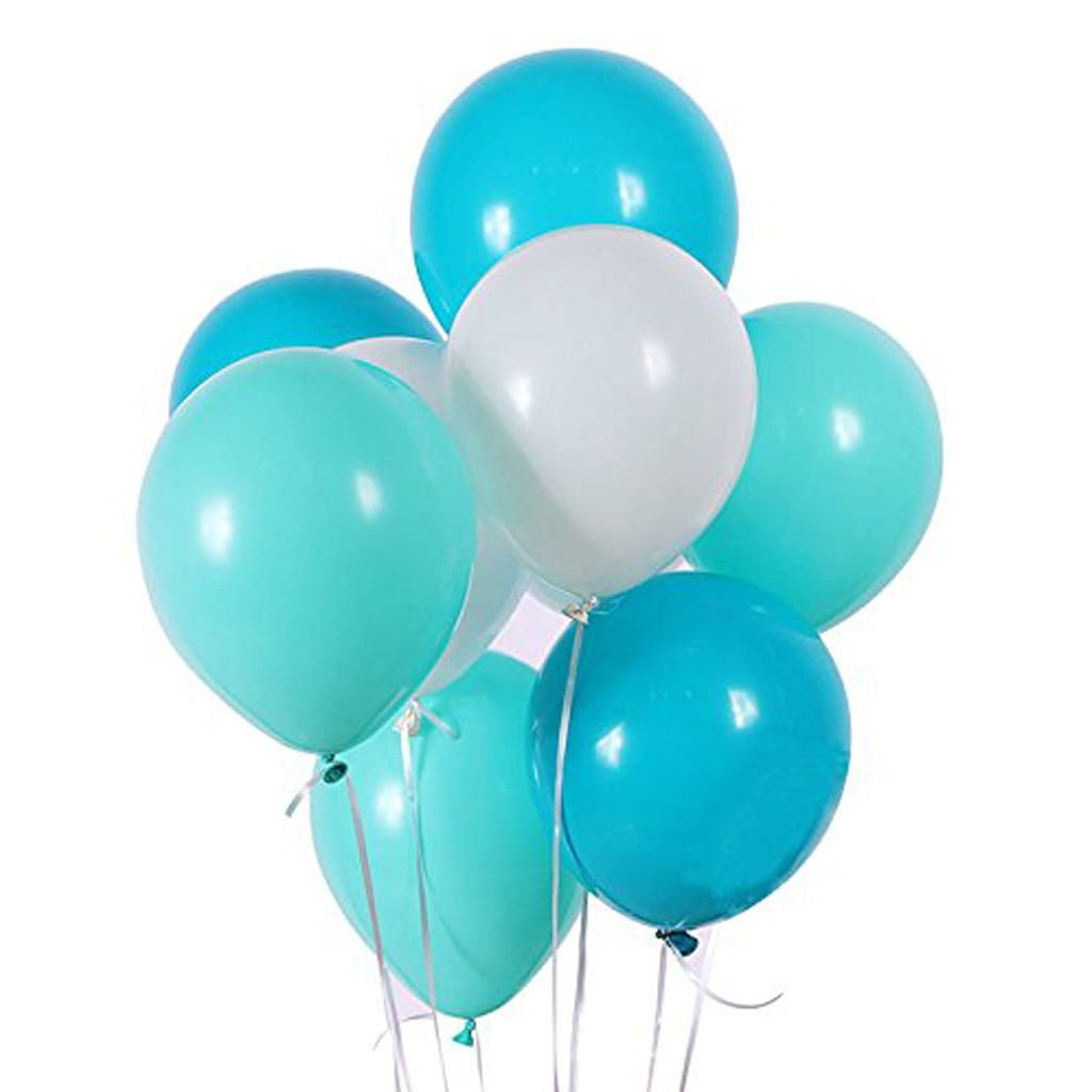 "10"" White, Lake Blue and Turquoise Balloons"
