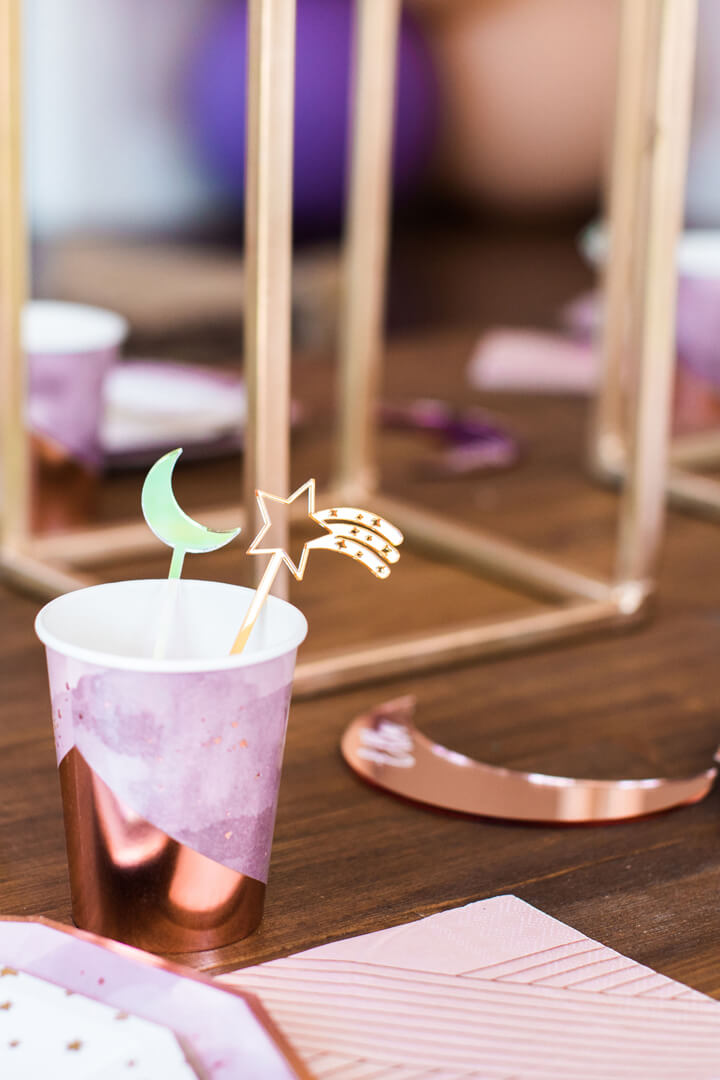 Amethyst Cup from Celestial Birthday Party Styled by Golden Arrow Events & Design | Black Twine
