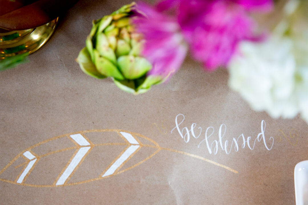 """Be Blessed"" Craft Paper Tablerunner from Boho Chic Friendsgiving Party Styled by Sarah Sofia Productions 