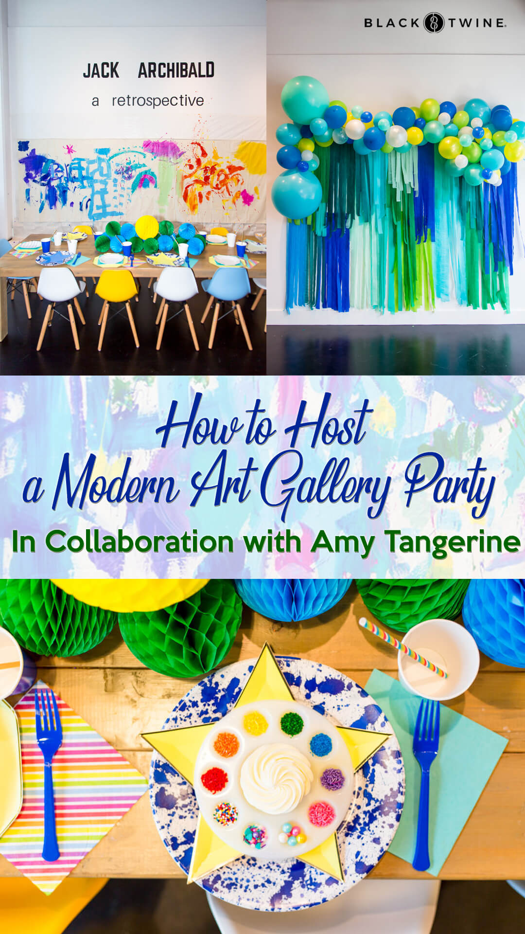 Tablescape, Place Setting and Balloon Garland from Modern Art Gallery Party In Collaboration with Amy Tangerine | Black Twine