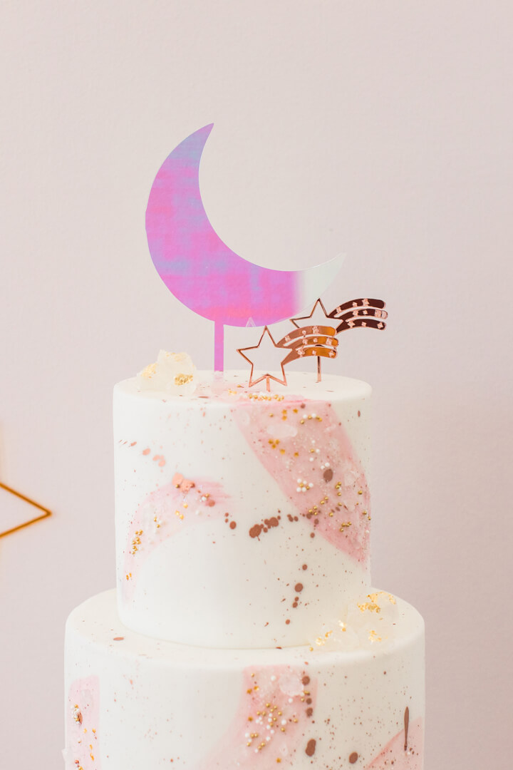 Cake from Celestial Birthday Party Styled by Golden Arrow Events & Design | Black Twine