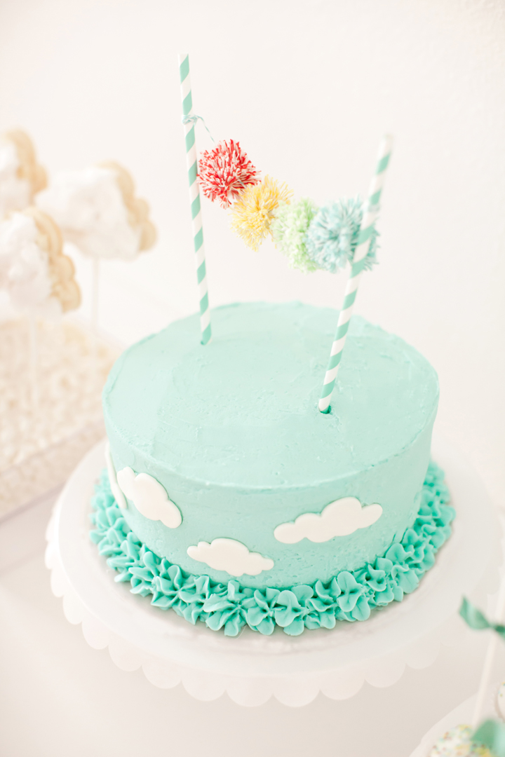 Cake from Up, Up, & Away Party Styled by Kiss Me Kate Studio | Black Twine