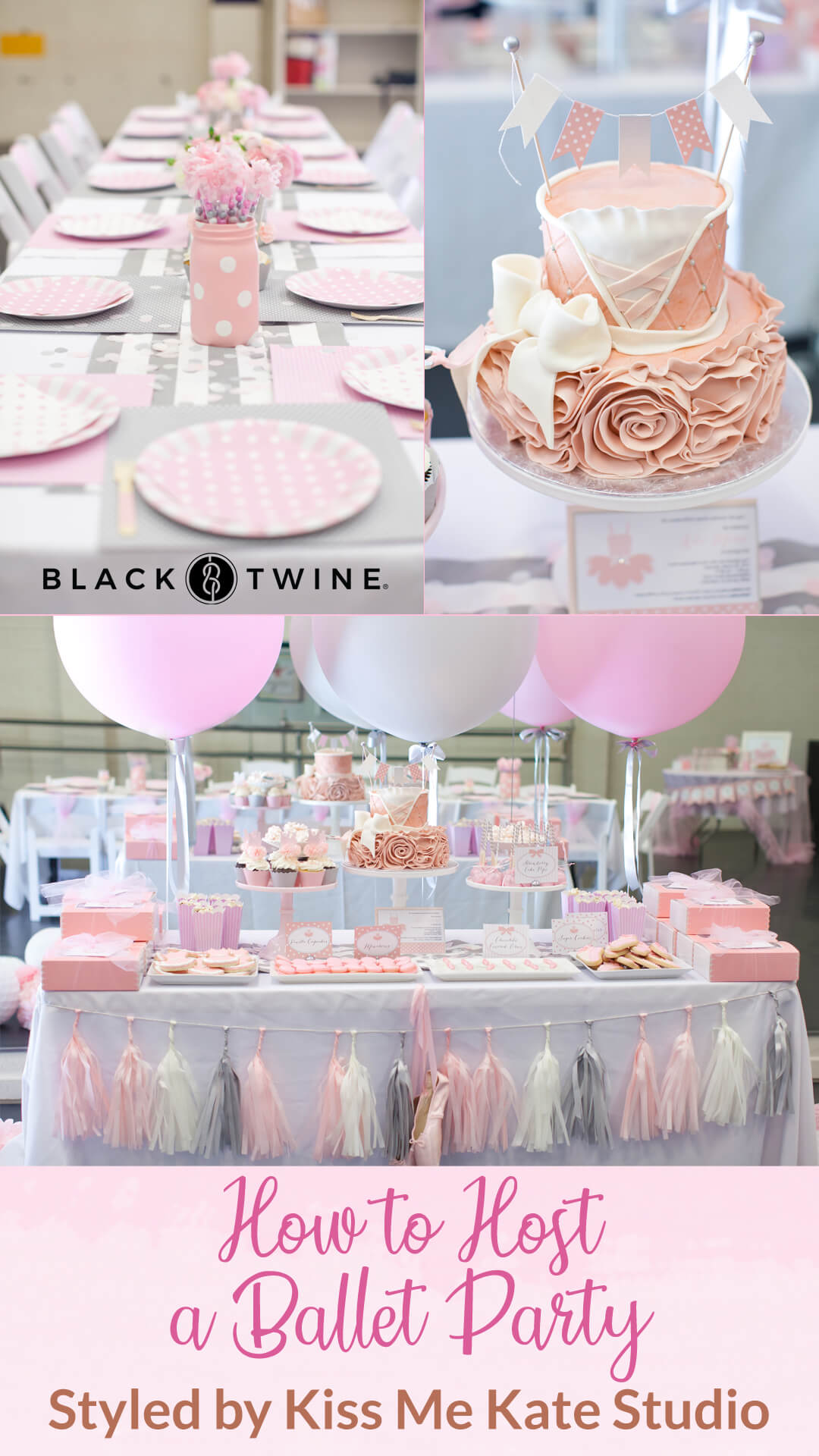 Ballerina Cake, Tablescape and Place Setting from Ballet Party Styled by Kiss Me Kate Studio | Black Twine