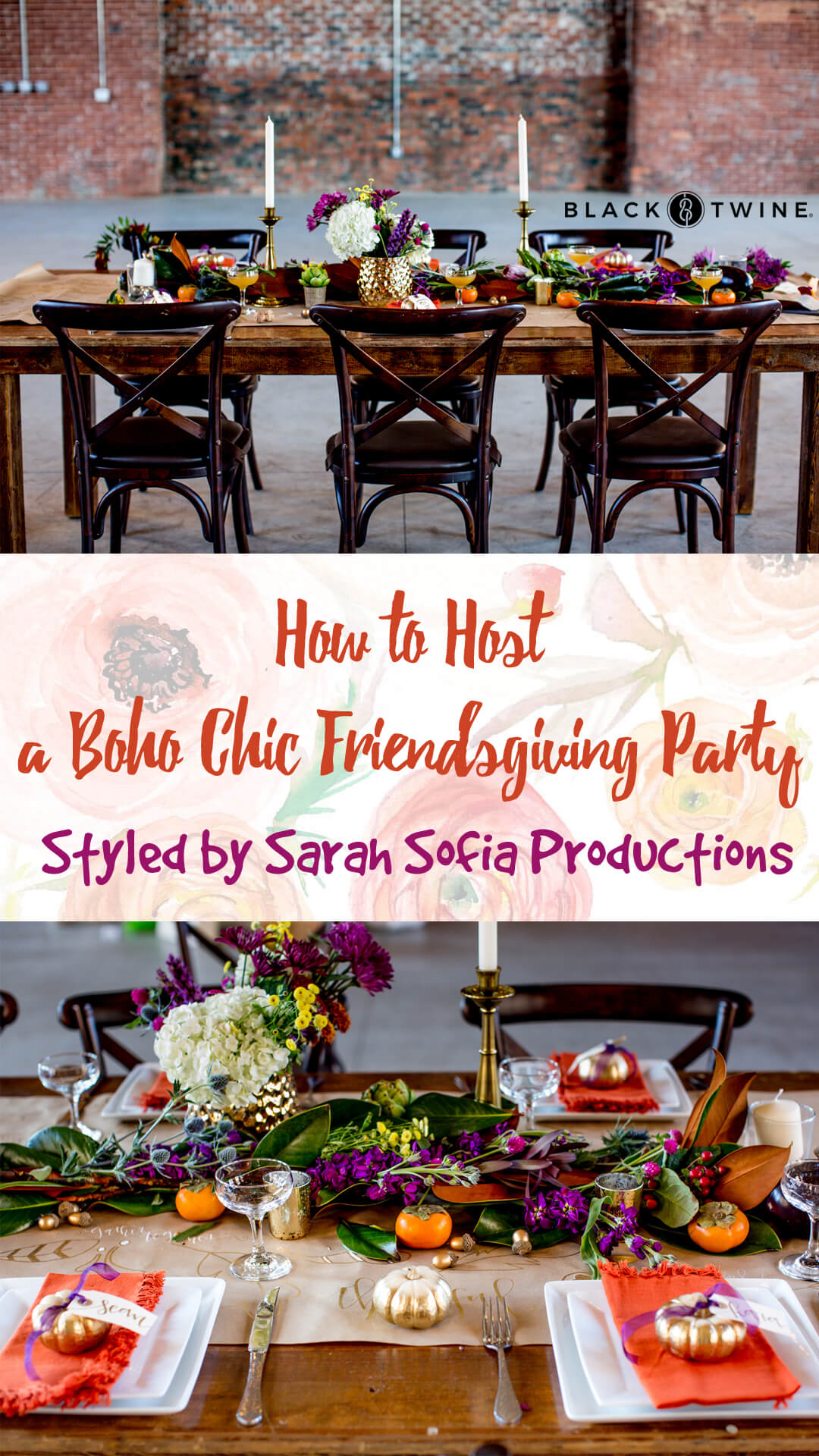 Tablescape and Place Setting from Boho Chic Friendsgiving Party Styled by Sarah Sofia Productions | Black Twine