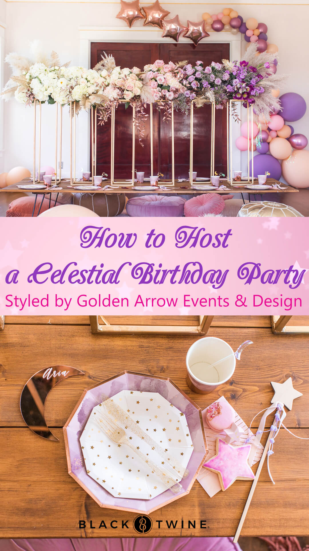 Tablescape and Place Setting from Celestial Birthday Party Styled by Golden Arrow Events & Design | Black Twine